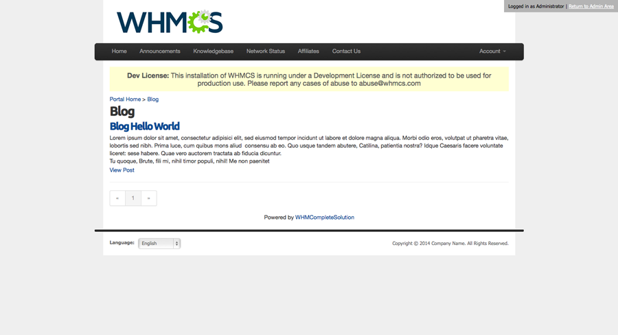 WHMCS CMS Plus | Archive View