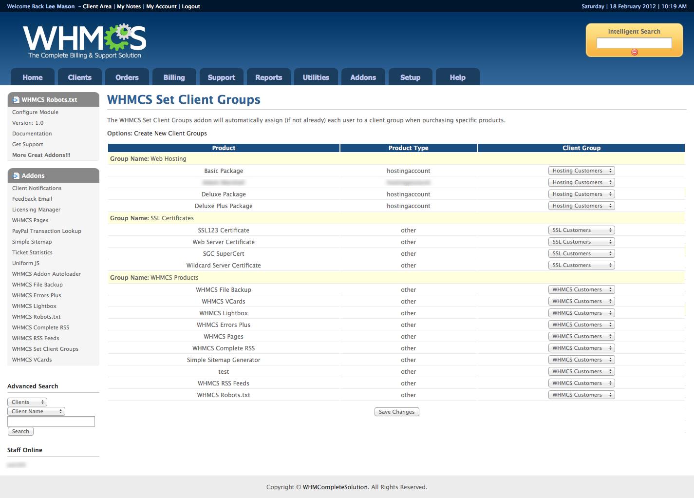 WHMCS Set Client Groups - WHMCS Module Shop